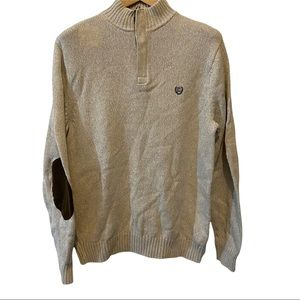 Chaps 1/4 zip pullover long sleeve sweater beige logo front size large VGUC